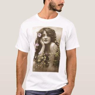 Vintage Retro Women Victorian Flower Girl T-Shirt