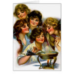 Vintage Retro Women Victorian Gibson Girl Girls Greeting Cards