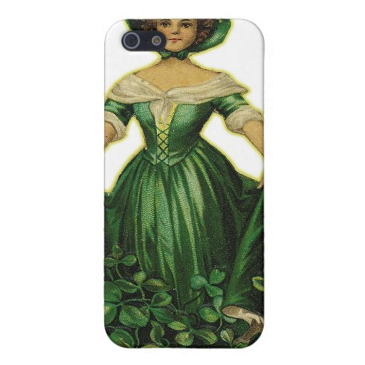 Vintage Retro Women Victorian Lucky Clover Girl iPhone 5/5S Covers