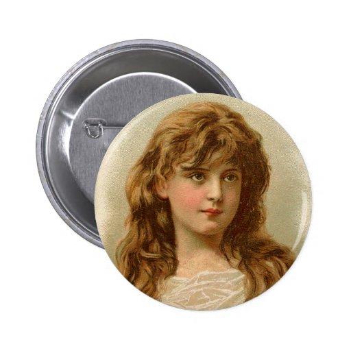 Vintage Retro Women White Mountain Ice Cream Girl Buttons