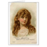Vintage Retro Women White Mountain Ice Cream Girl Greeting Card
