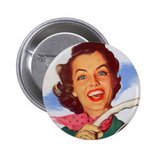 Vintage Retro Women Woman Driver Behind the Wheel Pinback Buttons