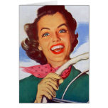 Vintage Retro Women Woman Driver Behind the Wheel Card
