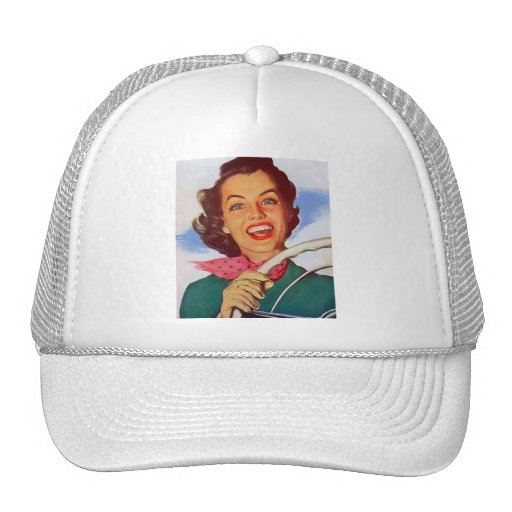 Vintage Retro Women Woman Driver Behind the Wheel Mesh Hats