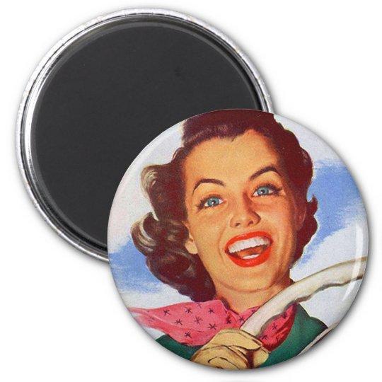 Vintage Retro Women Woman Driver Behind the Wheel Magnet