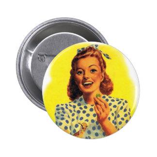 Vintage Retro Women Woman Gum Drop Girl 2 Inch Round Button