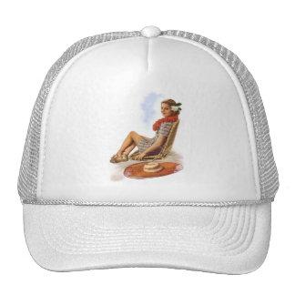 Vintage Retro Women Woman Hawaii Vacation Hat