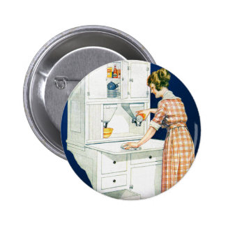 Vintage Retro Women Woman House Cleaning Button