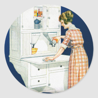 Vintage Retro Women Woman House Cleaning Classic Round Sticker