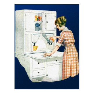 Vintage Retro Women Woman House Cleaning Postcard