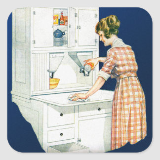 Vintage Retro Women Woman House Cleaning Square Sticker