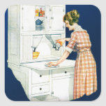 Vintage Retro Women Woman House Cleaning Stickers