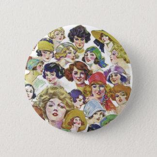 Vintage Retro Women Women''s Faces Illustration Button