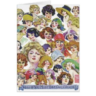 Vintage Retro Women Women''s Faces Illustration Card