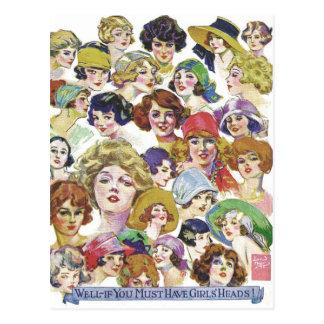 Vintage Retro Women Women''s Faces Illustration Postcard