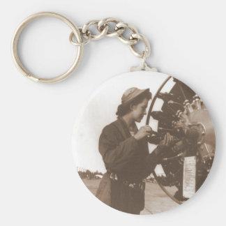 Vintage Retro Women Working in America USA Basic Round Button Keychain