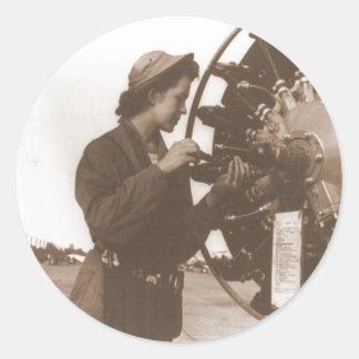 Vintage Retro Women Working in America USA Classic Round Sticker