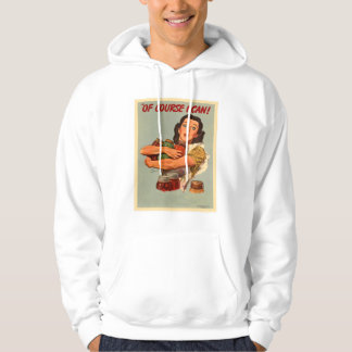 Vintage Retro Women WW2 Of Course I Can! Hoodie