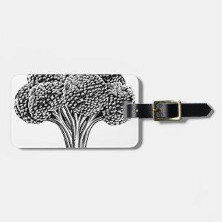 Vintage retro woodcut broccoli luggage tag