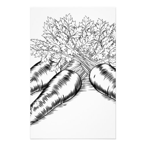 Vintage retro woodcut carrots stationery paper