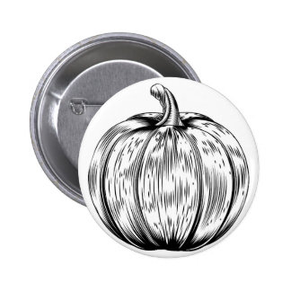 Vintage retro woodcut pumpkin pinback buttons
