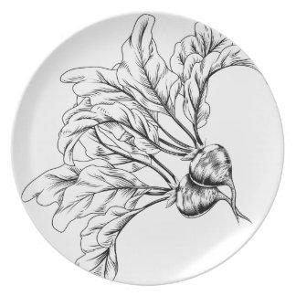 Vintage retro woodcut radish or beets party plates