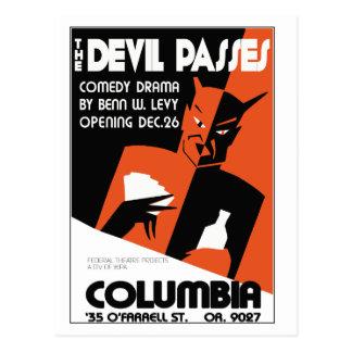 Vintage retro WPA The Devil theatre play Postcard