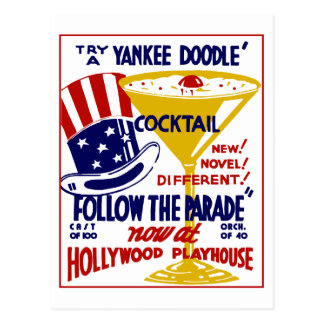 Vintage retro Yankee Doodle cocktail Post Card