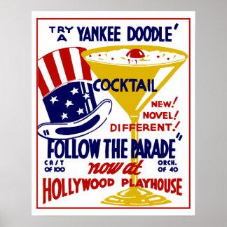 Vintage retro Yankee Doodle cocktail Poster