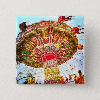 Vintage retro yellow carnival swing ride photo button