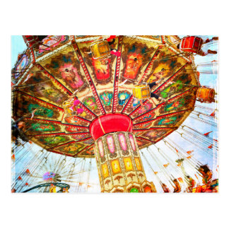 Vintage retro yellow carnival swing ride photo postcard