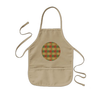 Vintage Retro Yellow Red Green Brown Square Shapes Apron