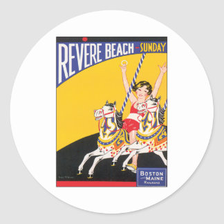 Vintage Revere Beach Boston Round Sticker