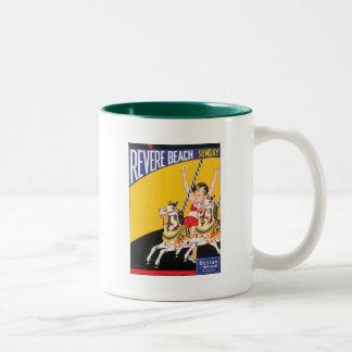 Vintage Revere Beach Boston Two-Tone Coffee Mug