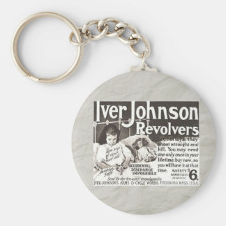 Vintage Revolver Ad Don't Try This At Home Keychain