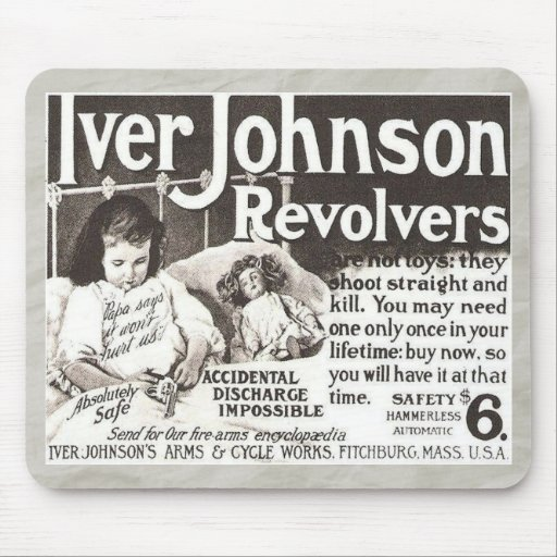Vintage Revolver Ad - Don't Try This At Home! Mouse Pads