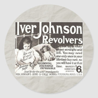 Vintage Revolver Ad - Don't Try This At Home! Sticker