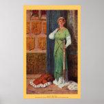 Vintage - rey Arturo - señora con la espada Poster