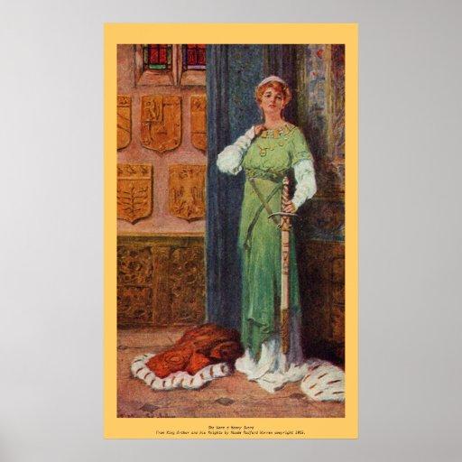 Vintage - rey Arturo - señora con la espada Póster