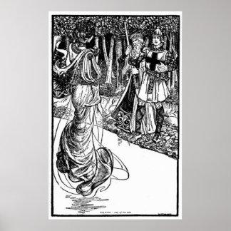 Vintage - rey Arturo - señora del lago Póster