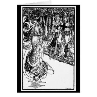 Vintage - rey Arturo - señora del lago Tarjeta De Felicitación