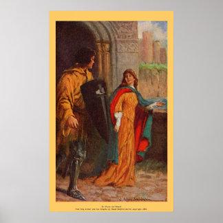 Vintage - rey Arturo - sir Brune y damisela Póster