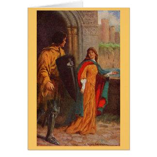 Vintage - rey Arturo - sir Brune y damisela Tarjeta