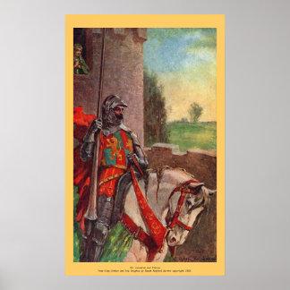 Vintage - rey Arturo - sir Lancelot y Elaine Póster