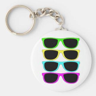 Vintage Rgb Fluo Sunglasses Basic Round Button Keychain