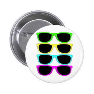 Vintage Rgb Fluo Sunglasses Pinback Button