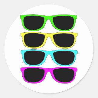 Vintage Rgb Fluo Sunglasses Classic Round Sticker