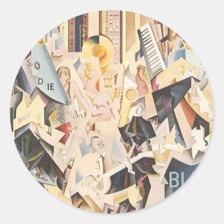 Vintage Rhapsody in Blue Art Deco Jazz Music Round Stickers