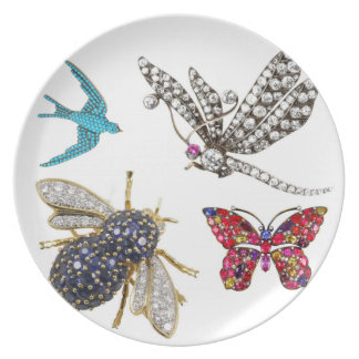 Vintage Rhinestone Costume Jewelry Bugs Plate