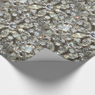 Vintage Rhinestone Diamond Bling Mirror Pattern Wrapping Paper
